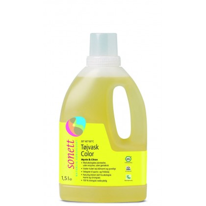 Vaskemiddel tøy color, mynte & sitron, flytende, 1.5 l, Sonett